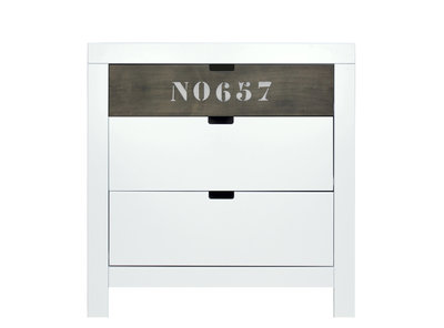 Bopita Basic wood Babyflex 3 laden commode 90 cm white wash/grey