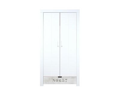 Bopita Basic wood medium 2 deurs kleding kast + lade blue wash
