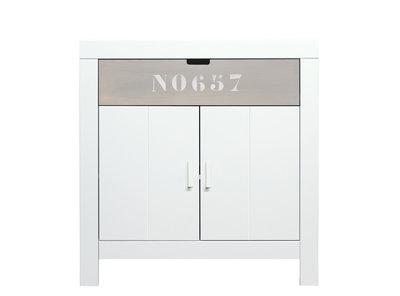 Bopita Basic wood Babyflex 1 lade - 2 deuren commode 90 cm white wash/naturel