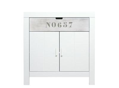 Bopita Basic wood Babyflex 1 lade - 2 deuren commode 90 cm white wash/blue