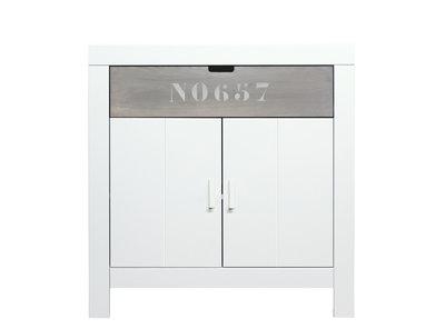 Bopita Basic wood Babyflex 1 lade - 2 deuren commode 90 cm white wash/gravel