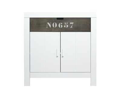 Bopita Basic wood Babyflex 1 lade - 2 deuren commode 90 cm white wash/grey