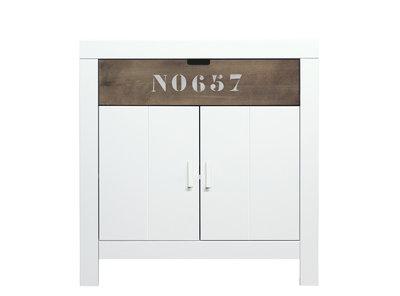 Bopita Basic wood Babyflex 1 lade - 2 deuren commode 90 cm white wash/brown