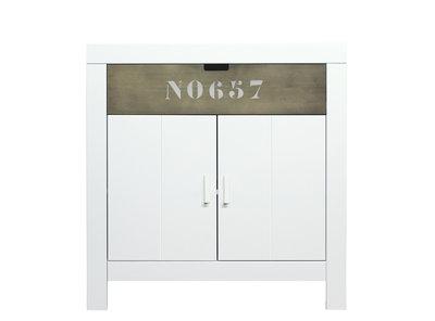 Bopita Basic wood Babyflex 1 lade - 2 deuren commode 90 cm white wash/stone
