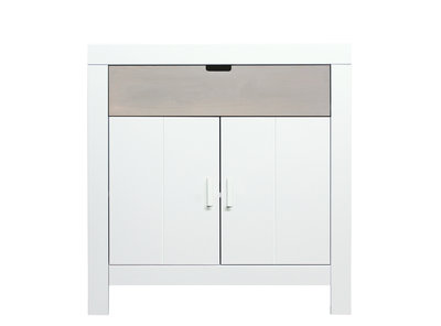 Bopita Basic wood Babyflex 1 lade 2 deuren commode 90 cm white wash/naturel uni
