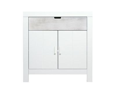 Bopita Basic wood Babyflex 1 lade 2 deuren commode 90 cm white wash/blue uni