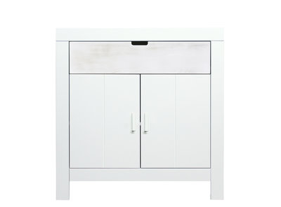Bopita Basic wood Babyflex 1 lade 2 deuren commode 90 cm white wash/white uni