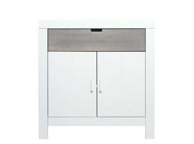 Bopita Basic wood Babyflex 1 lade 2 deuren commode 90 cm white wash/gravel uni