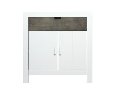 Bopita Basic wood Babyflex 1 lade 2 deuren commode 90 cm white wash/grey uni