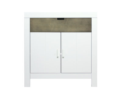 Bopita Basic wood Babyflex 1 lade 2 deuren commode 90 cm white wash/stone uni