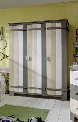 Infanskids 3 deurs kleding kast Merlin wit - mixed wood