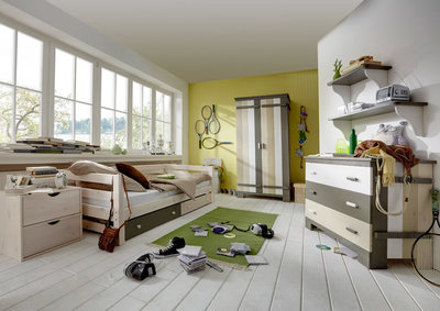 Infanskids bed met laden 90x200 Merlin wit - mixed wood