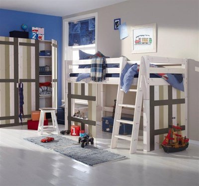 Infanskids hutbed middelhoog 90x200 Merlin wit - mixed wood