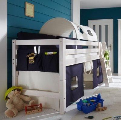 Infanskids Thijs blauw/ecru tent halfhoogslaper set 90x200 grenen beits wit