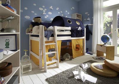 Infanskids Thijs geel/blauw tent halfhoogslaper set 90x200 grenen beits wit
