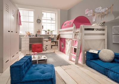 Infanskids Thijs roze tent halfhoogslaper set 90x200 grenen beits wit