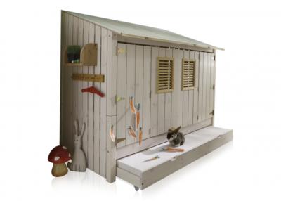 Infanskids strandhuis bed + lade excl. achterwand 90x200 grenen beits wit