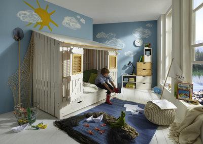 Infanskids strandhuis bed + lade + achterwand 90x200 grenen beits wit
