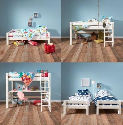 Beddyfurn Bed 4 life van 1 tot 18+ 5 modellen inclusieve 90x200 grenen wit