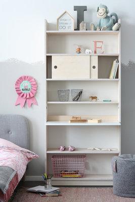 Coming kids Morris bureau / boekenkast in één blank - wit