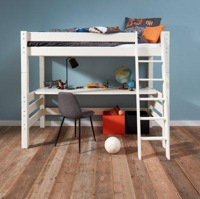 Beddyfurn Neova hoogslaper 90x200 + bureau +schuine trap deelbaar grenen wit