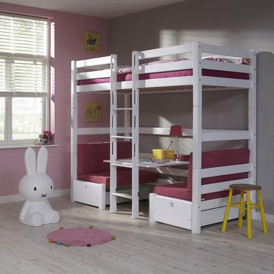 Relita Finley hoogslaper/stapelbed 90x200 beuken wit met zitje roze