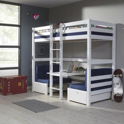 Relita Finley hoogslaper/stapelbed 90x200 beuken wit met zitje blauw