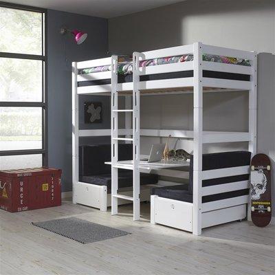 Relita Finley hoogslaper/stapelbed 90x200 beuken wit met zitje zwart