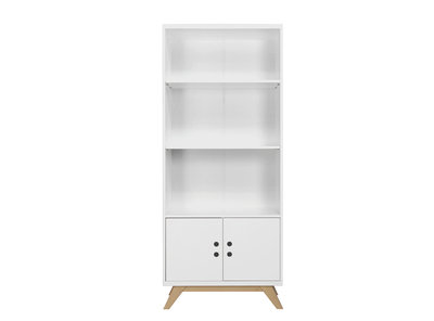 Bopita lynn design boekenkast met deuren wit naturel
