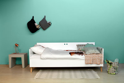 Bopita Lynn tiener bedbank 90x200 wit - naturel
