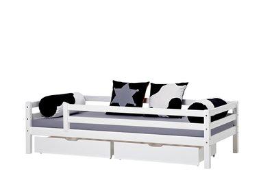Hoppekids Basic sofabed met 3/4 uitval + lade set 90x200 grenen wit