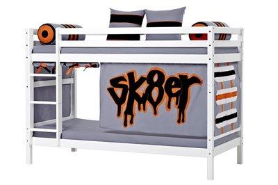 Hoppekids Basic Skater tent + stapelbed 90x200 grenen wit