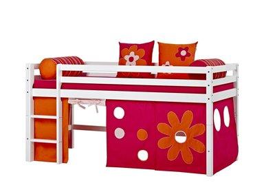 Hoppekids Basic Flower power tent + halfhoogslaper 90x200 grenen wit