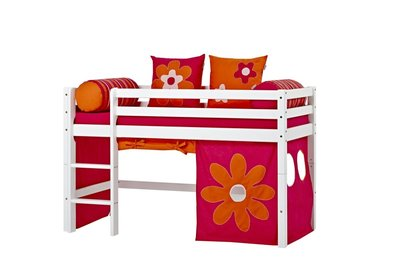 Hoppekids junior Basic Flower power tent + halfhoogslaper 70x160 grenen wit