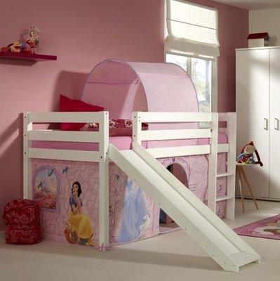 Relita Alex Disney Princess halfhoogslaper + glijbaan 90x200 beuken wit