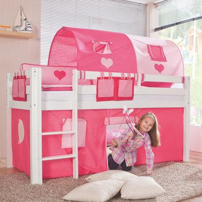 Relita Alex roze hartjes tenten halfhoogslaper 90x200 beuken wit