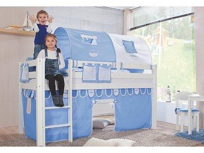 Relita Alex blue boys tenten halfhoogslaper 90x200 beuken wit