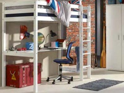 Relita Joep hoogslaper + bureau 90x200 beuken wit