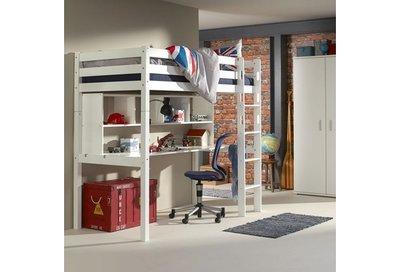 Relita Joep hoogslaper + bureau + boekenkast 90x200 beuken wit