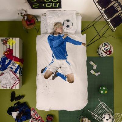 Snurk dekbedovertrek 1-persoons 140x200 soccer blauw