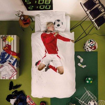 snurk dekbedovertrek 1-persoons 140x200 Soccer red