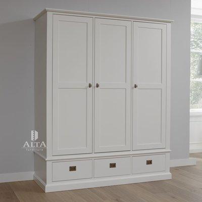 Alta 5393 kledingkast 3 deurs 3 laden grenenhout wit