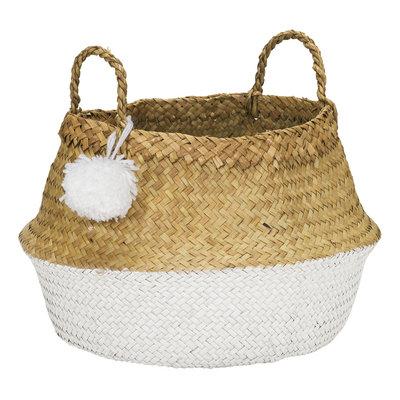 Kidsdepot Pompon size L opvouwbare mand white