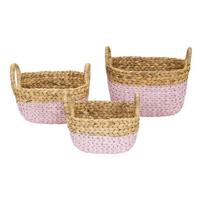 Kidsdepot set van 3 mandjes pink