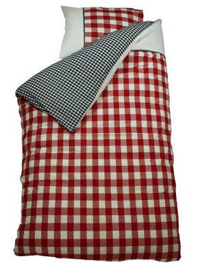Bink bedding overtrek BB / wafel marine/rood
