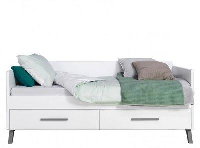 Bopita Levi bedbank met lade 90x200 white/grey wash