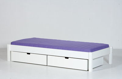 Danish Ull bed met lade set 90x200 helder wit
