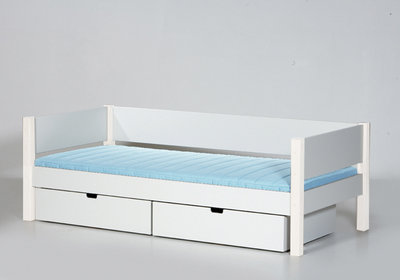 Danish Sif bedbank met lade set 90x200 helder wit