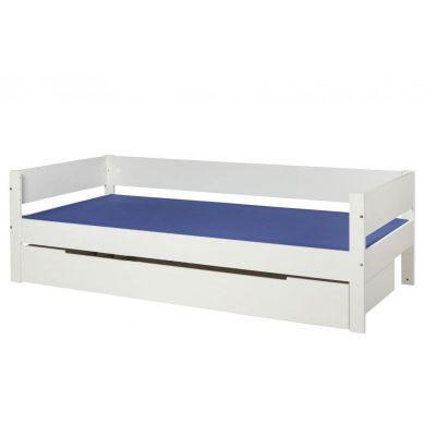 Danish Rex bedbank 90x200 met grote opberglade helder wit