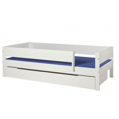 Danish Max bedbank 90x200 met grote opberglade & uitval helder wit